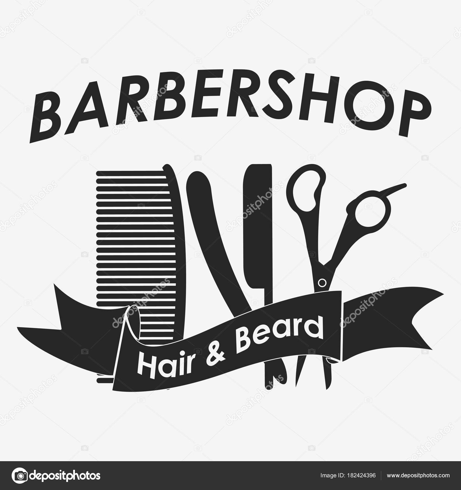Logotipo de barbearia. Cabeleireiro — Vetores de Stock