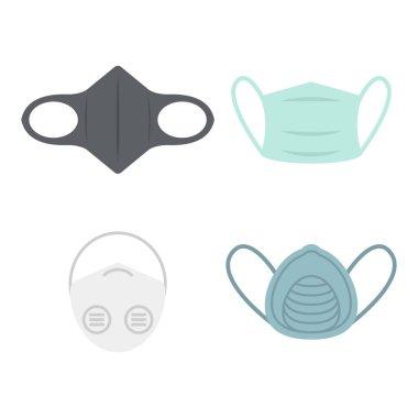 Face medical pollution mask set. Smog dust pm2.5 danger protection