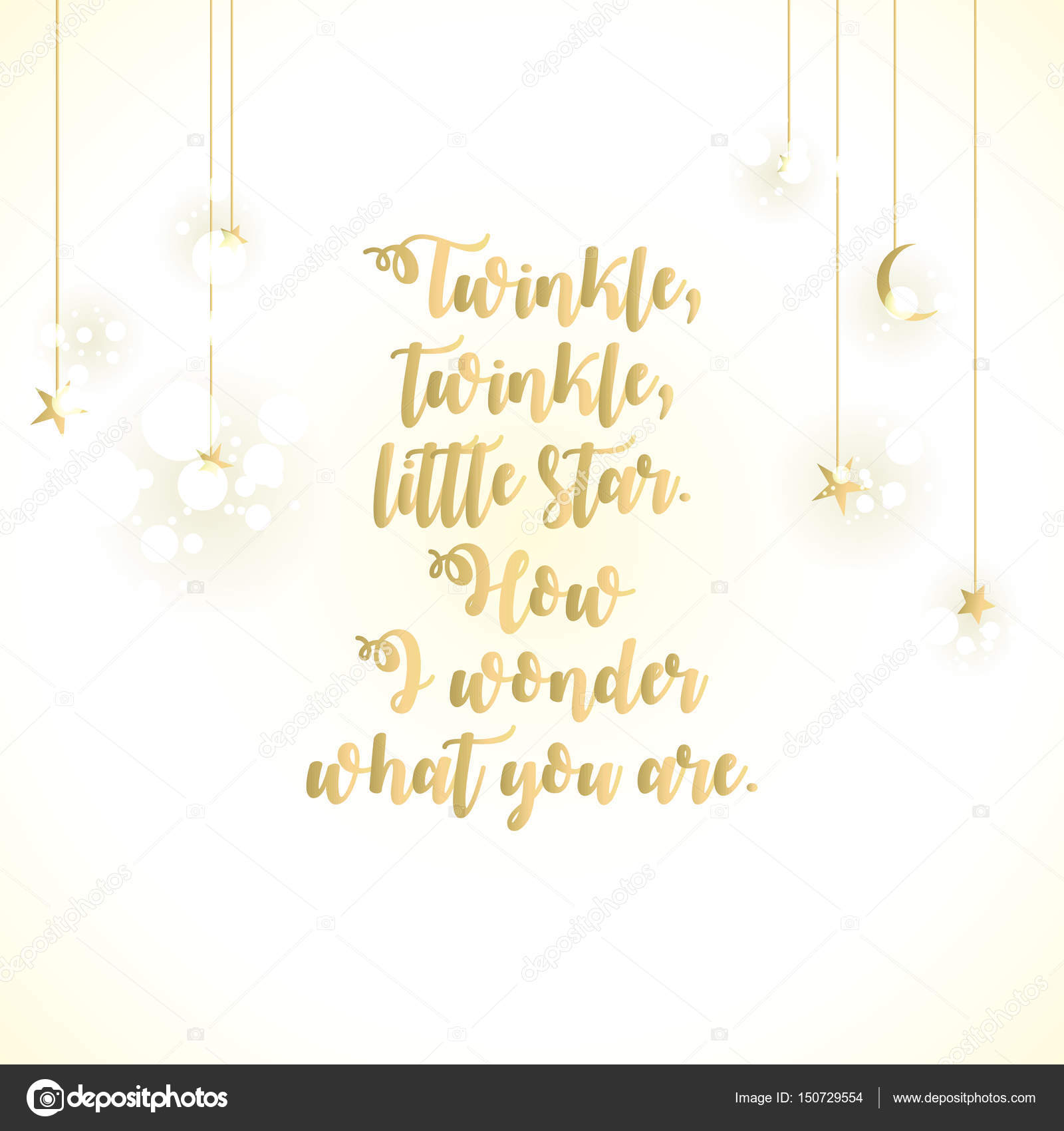 Twinkle little star lettering card — stock photo