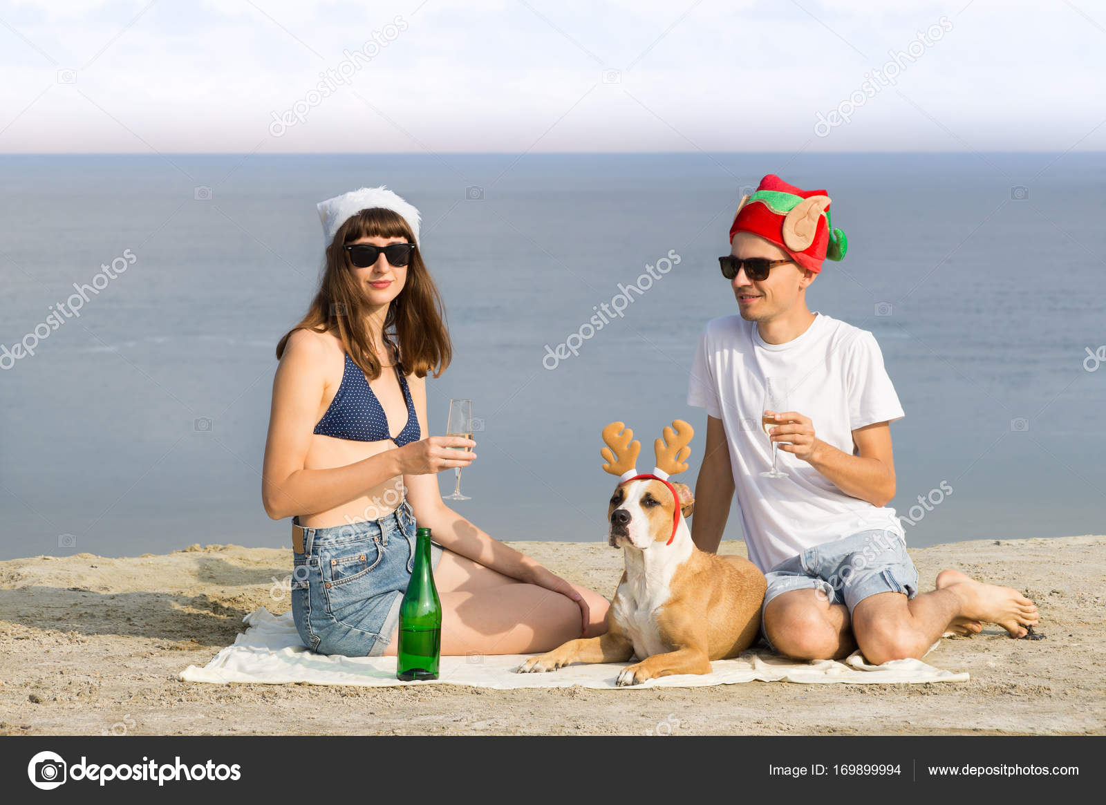 f5219852 Two persons and dog in funny christmas hats and glasses of sparkling wine  on the beach