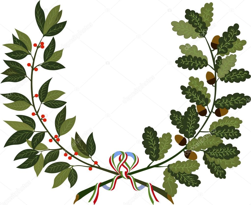 Laurel and oak branches with ribbon
