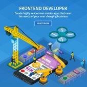 Fotografie Entwicklung von mobilen Anwendungen flach isometrische 3D-Stil. Blaue Webdesign. Frontend-Entwickler-app. Mitarbeiter am Start. 3D Kran und Roboterarm