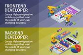 Fotografie Entwicklung von mobilen Anwendungen flach isometrische 3D-Stil. Horizontale Banner setzen Web-Design. Frontend und Backend-app