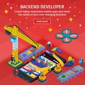 Entwicklung mobiler Anwendungen flachen 3d isometrischen Stil. Menschen, die am Start-up arbeiten. rotes Webdesign. Backend-Entwickler-App. 3D-Kran und Roboterarm.