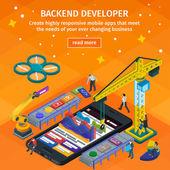 Entwicklung mobiler Anwendungen flachen 3d isometrischen Stil. Backend-Entwickler-App. Menschen, die am Start-up arbeiten. Orange Webdesign. 3D-Kran und Roboterarm.