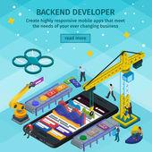 Entwicklung mobiler Anwendungen flachen 3d isometrischen Stil. Backend-Entwickler-App. Menschen, die am Start-up arbeiten. hellblaues Webdesign. 3D-Kran und Roboterarm.