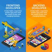 Fotografie Entwicklung von mobilen Anwendungen flach isometrische 3D-Stil. Vertikale Banner Set Webdesign. Frontend und Backend-app. Mitarbeiter am Start. 3D Kran und Roboterarm