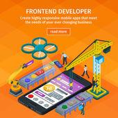 Fotografie Entwicklung von mobilen Anwendungen flach isometrische 3D-Stil. 3D Kran und Roboterarm. Mitarbeiter am Start. Orange Webdesign