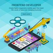 Entwicklung mobiler Anwendungen flachen 3d isometrischen Stil. Frontend Entwickler App. Leute, die an Start-up arbeiten.