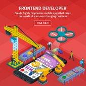 Fotografie Entwicklung von mobilen Anwendungen flach isometrische 3D-Stil. Mitarbeiter am Start. Roten Webdesign. Frontend-Entwickler-app
