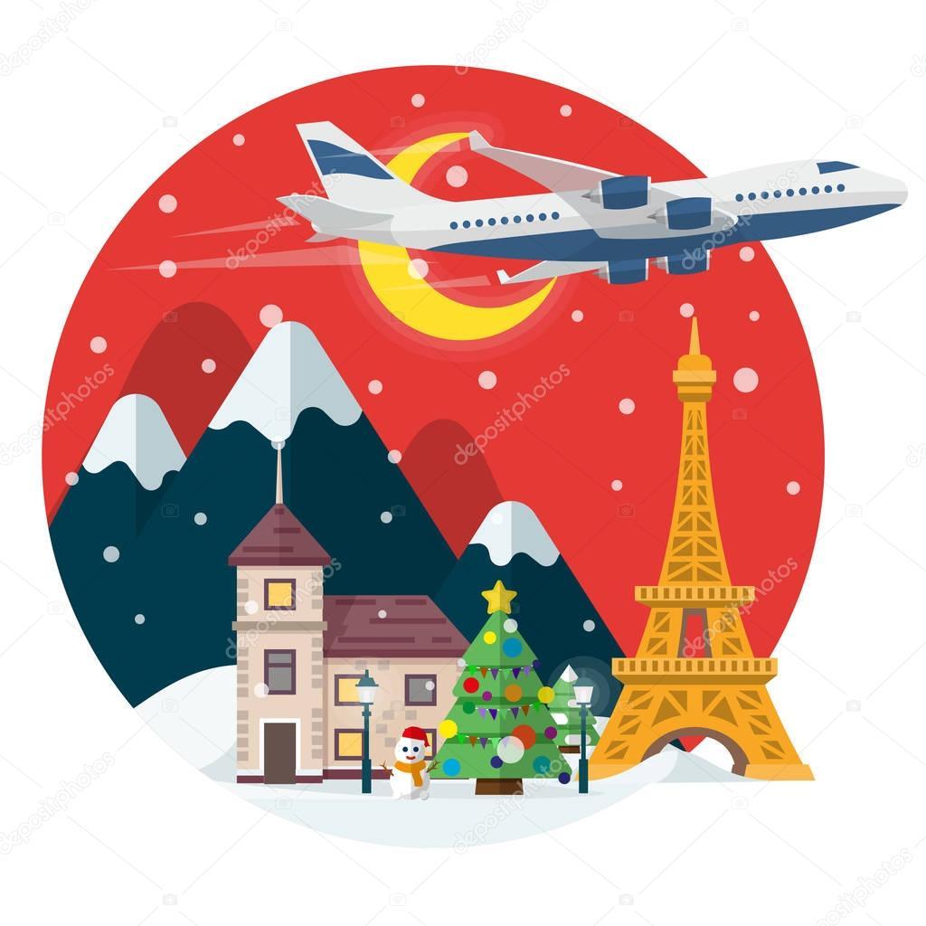 Frohe Weihnachten Flugzeug.In Der Zeit Des Urlaubs Reisen Mit Dem Flugzeug Reisen Sie