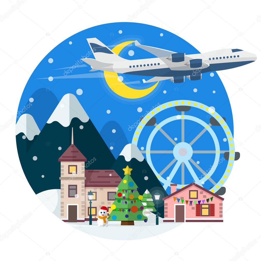 Frohe Weihnachten Flugzeug.Frohe Weihnachten Runden Banner Im Flachen Stil In Der Zeit