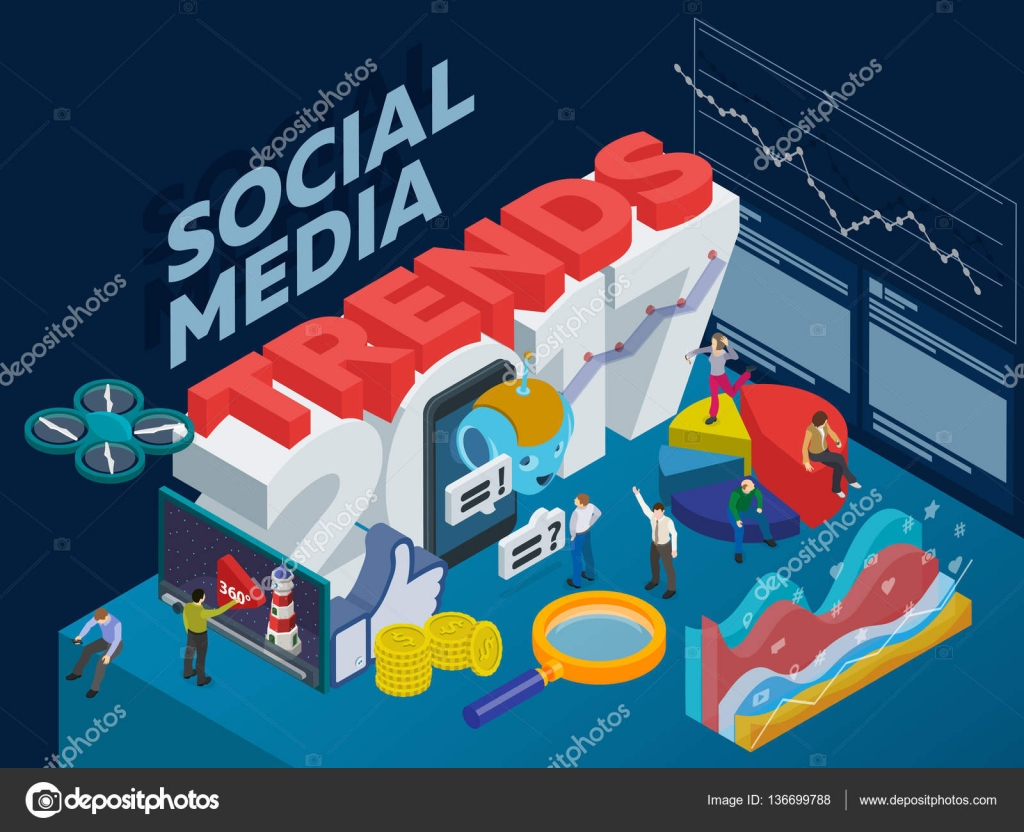 Trends in social media 2017. Flat 3d isometric banner. Chatbot ...