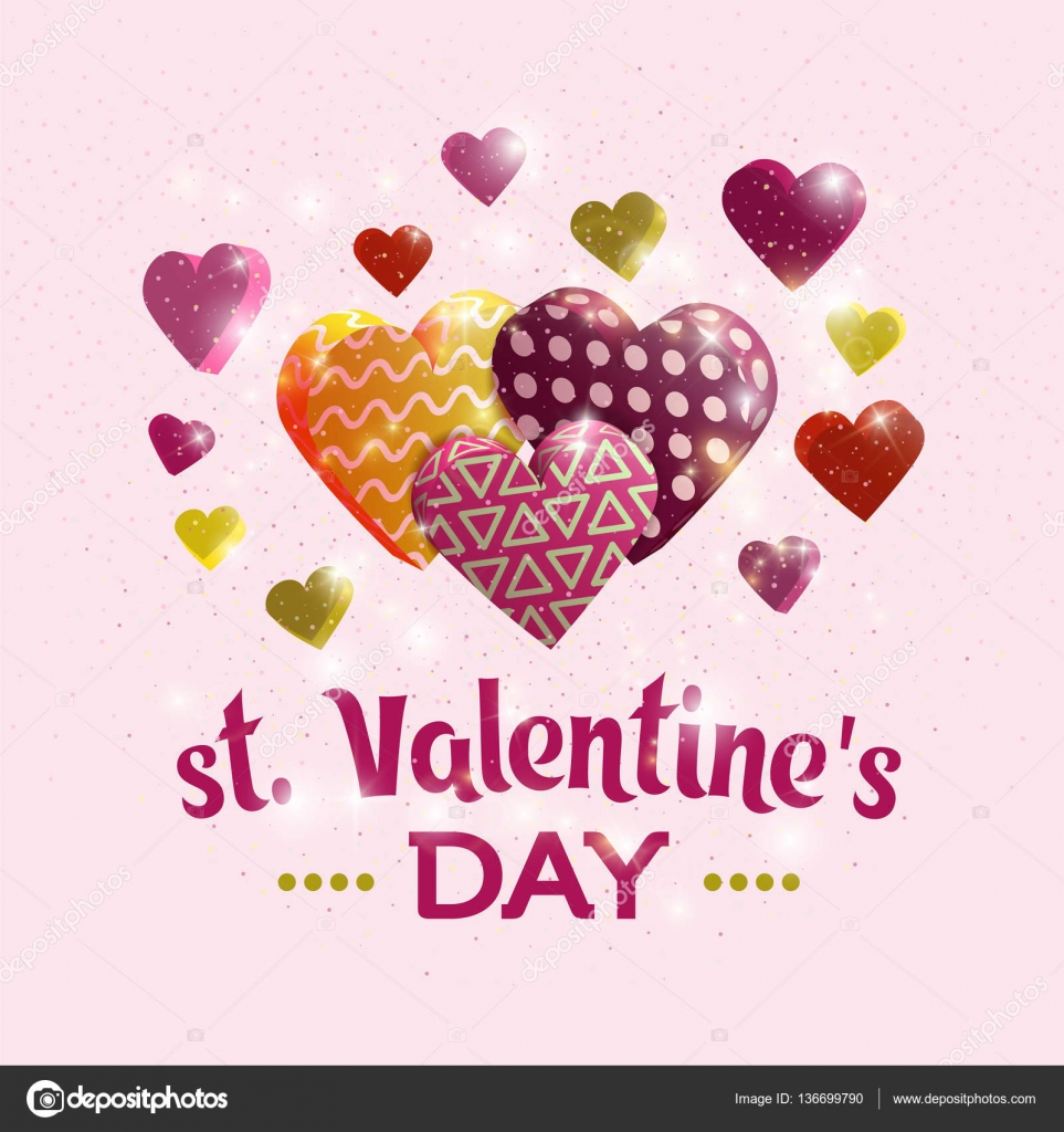 Happy Valentine\'s day banner. Greeting card design with hand ...
