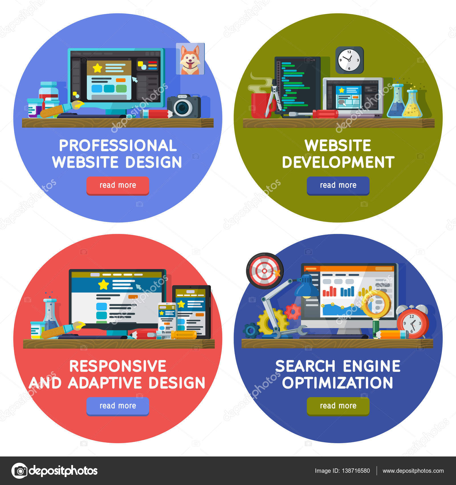 Diseño y sitio elementos plantillas web en círculos. Encuentra ...