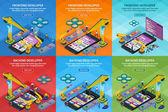 Entwicklung mobiler Anwendungen flachen 3d isometrischen Stil. Vertikale Banner bestimmen das Webdesign. Frontend und Backend-App-Entwicklung. Menschen, die am Start-up arbeiten. 3D-Kran und Roboterarm. Vektorillustration