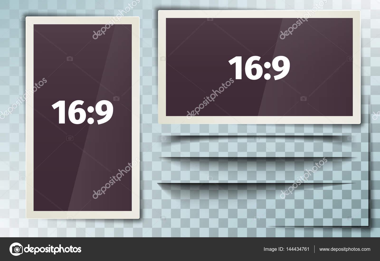 Fotorahmen 16:9. Weiße Kunststoff-Grenze auf einem transparenten ...