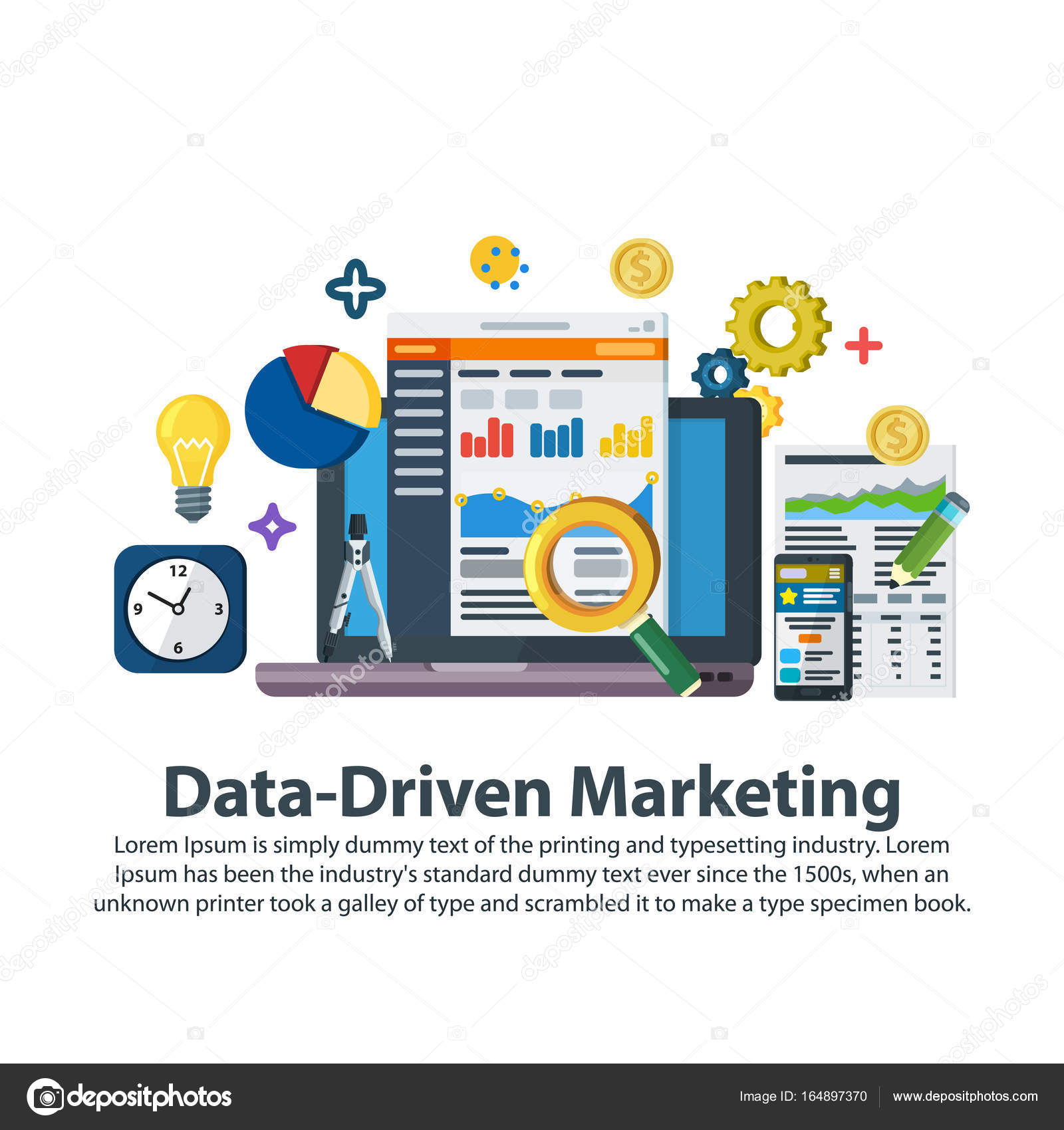 Datos estrategia de marketing. Plantilla Web en estilo plano ...
