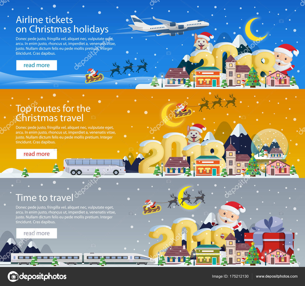 Frohe Weihnachten Flugzeug.Frohe Weihnachten 2018 Banner Im Flachen Stil Reisen Mit