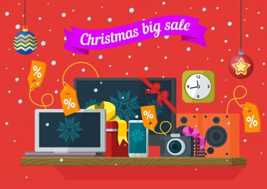 Christmas and New Year's sale. Discounts of electronic equipment. Sale of computers, laptops, telephones, cameras, and audio speakers. Banner in a flat style for advertising. Vector illustration