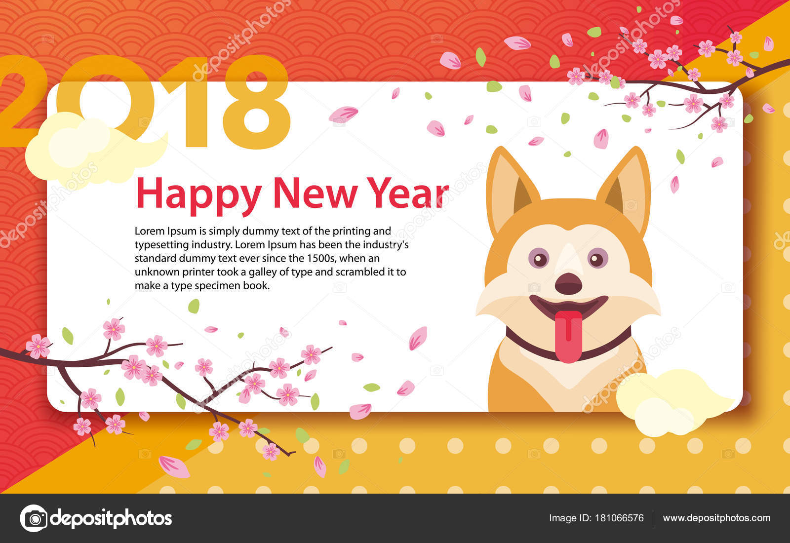 happy chinese new year 2018 stock vector