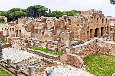 Archaeological Roman site landscape in Ostia Antica - Rome - Ita