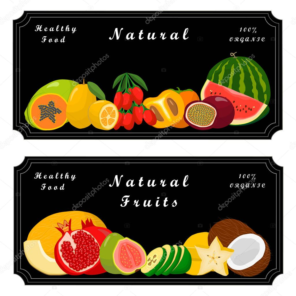 set: strawberry, orange, apple, pear,