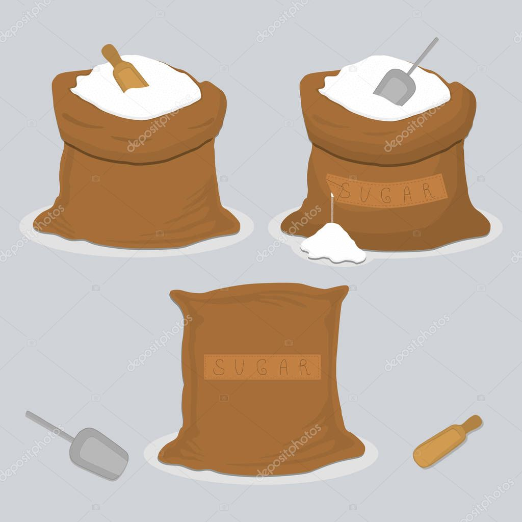 Vector icon illustration of logo for theme set sweet crystal powder sugar