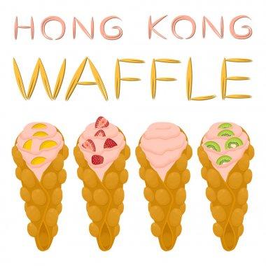 Vector icon illustration logo for set various sweet Hong Kong wa