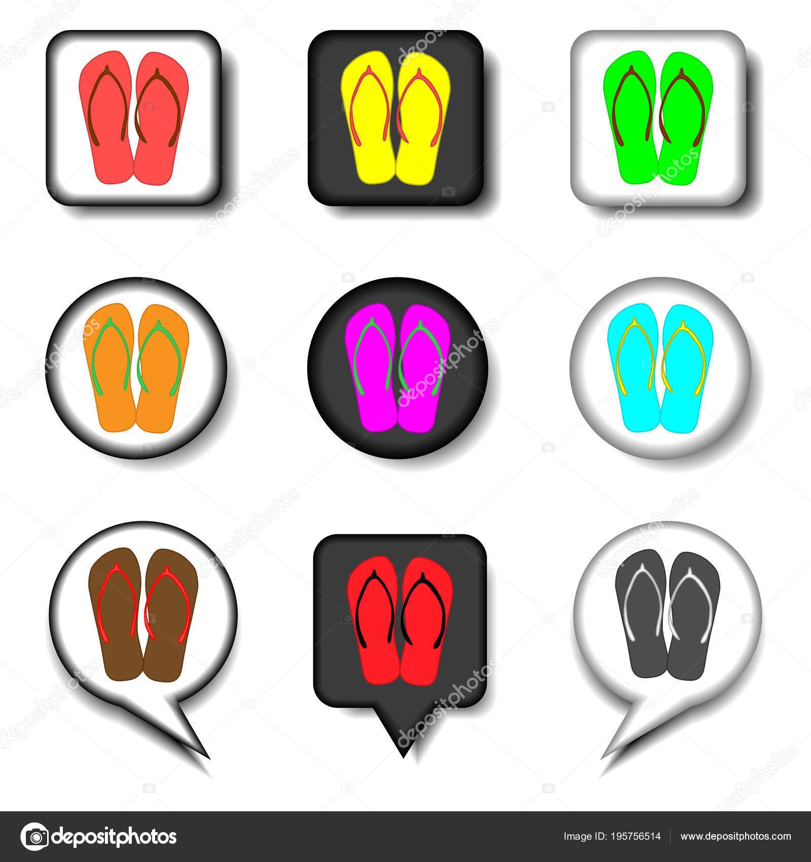 071b75d6d Logo de icono de vector de símbolos set verano zapatillas SANDALIA ...