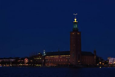 Night view of the Stockholm City Hall
