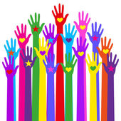 Group hands of different colors.Vector and illustration