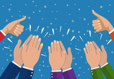 Human hands clapping. applaud hands. vector illustration in flat style. Businesswomen hands hold thumbs up.