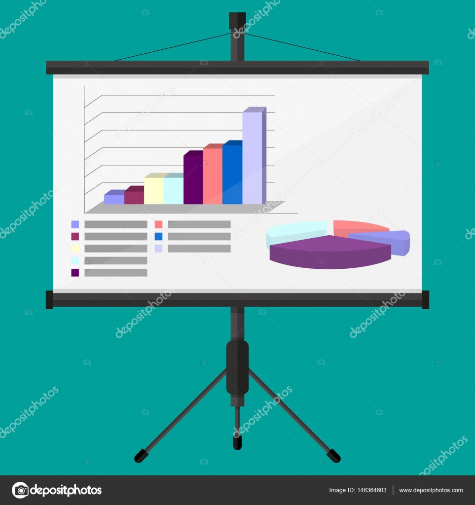 Projector screen with business presentation. chart pie, financial ...