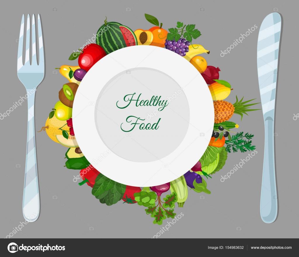 Plato con frutas y verduras cuchillo cuchara y tenedor for Plato tenedor y cuchillo