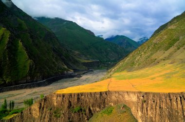 Panorama of Akhtychay river and valley, Midjakh Akhty Dagestan Russia