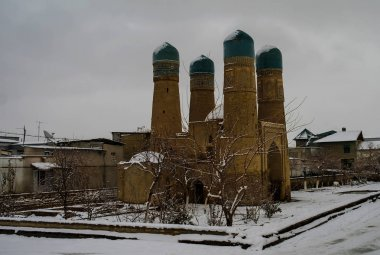 Winter look to Chor-Minor mosque, Bukhara Uzbekistan