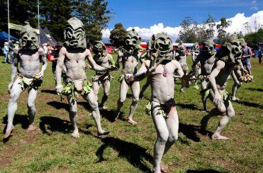 Asaro Mudman tribe man in Mount Hagen festival, Papua New Guinea