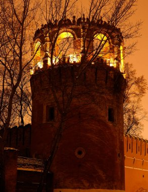 Night winter view to bastion and wall of Donskoy monastery, Moscow at Russia