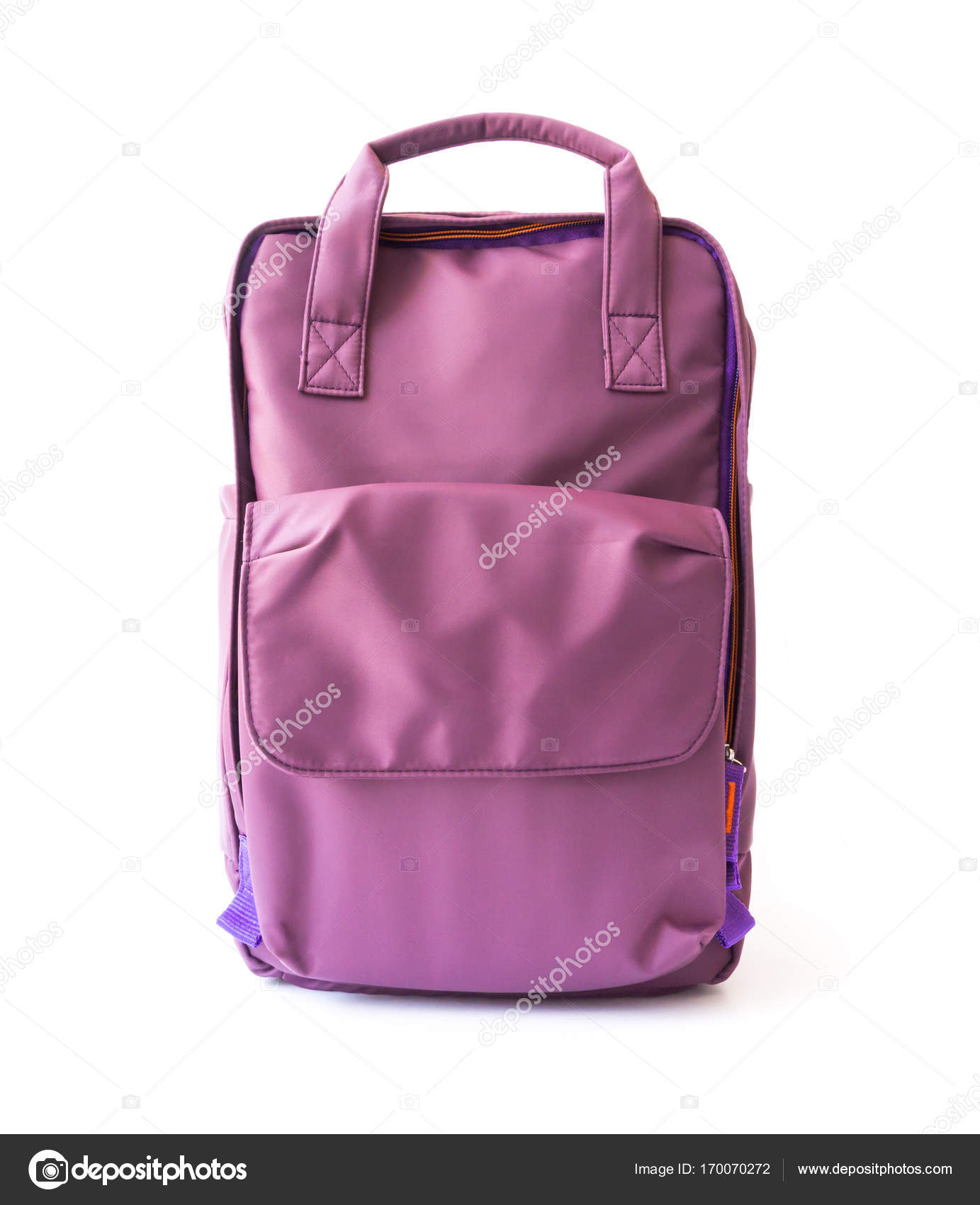 Purple backpack on white background for school or tourist traveler concept  — Stock Photo c4d235a713eed