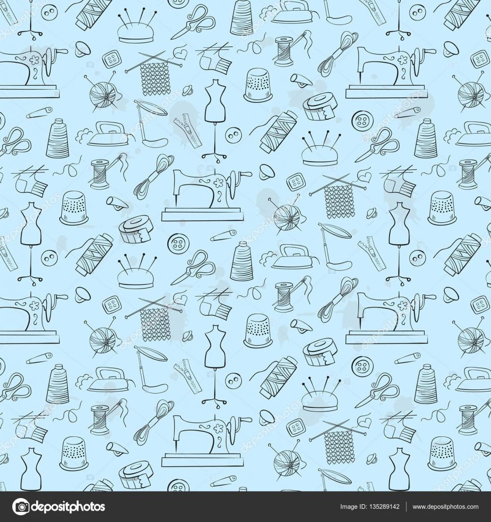 Muster stricken, Nähen und Handarbeiten Icons — Stockvektor ...