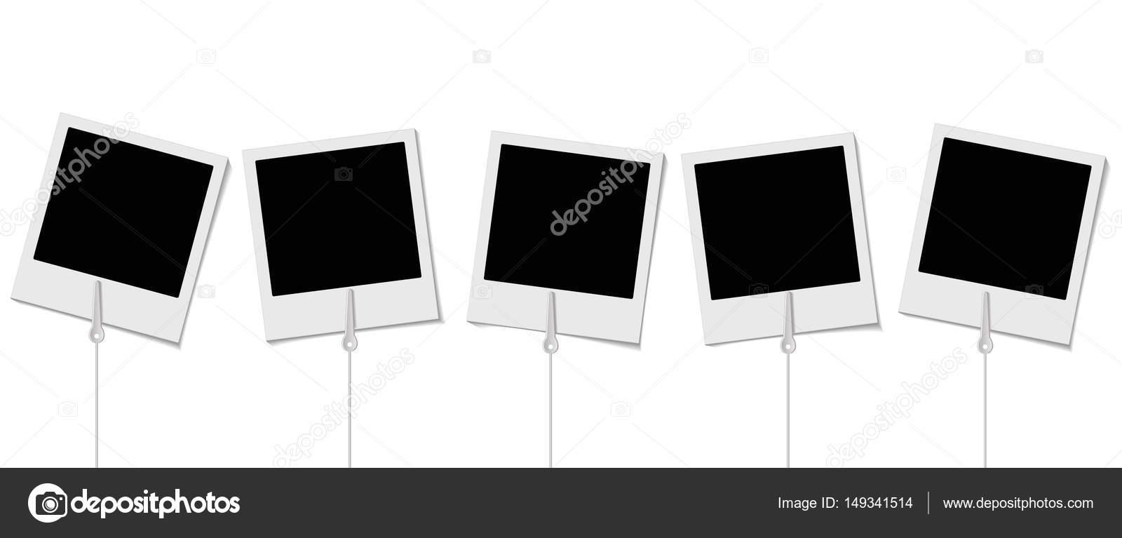 Satz von Retro-Bilderrahmen mit Halterungen für Foto auf dem weißen ...