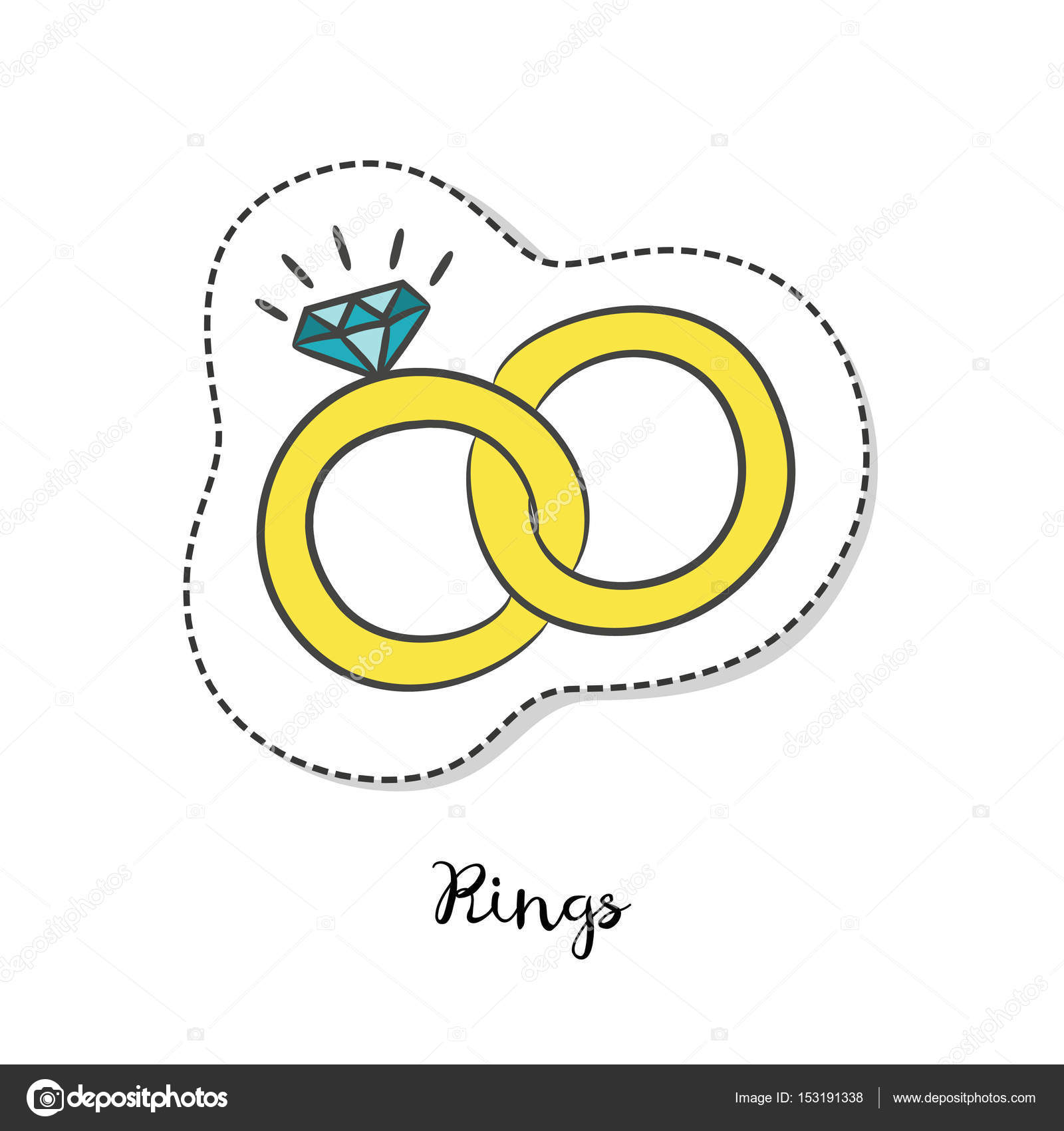 Cartoon sticker with wedding rings on white background Stock