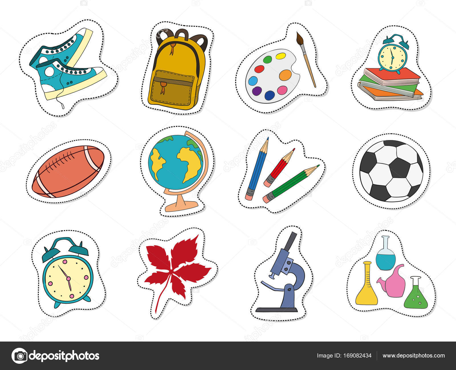cartoon stickers with school supplies on white background stock