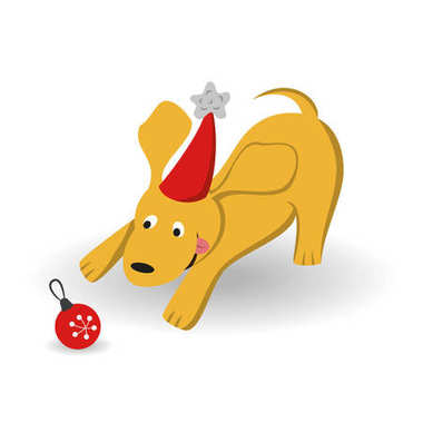 Cartoon dog with christmas tree toy on the white background.