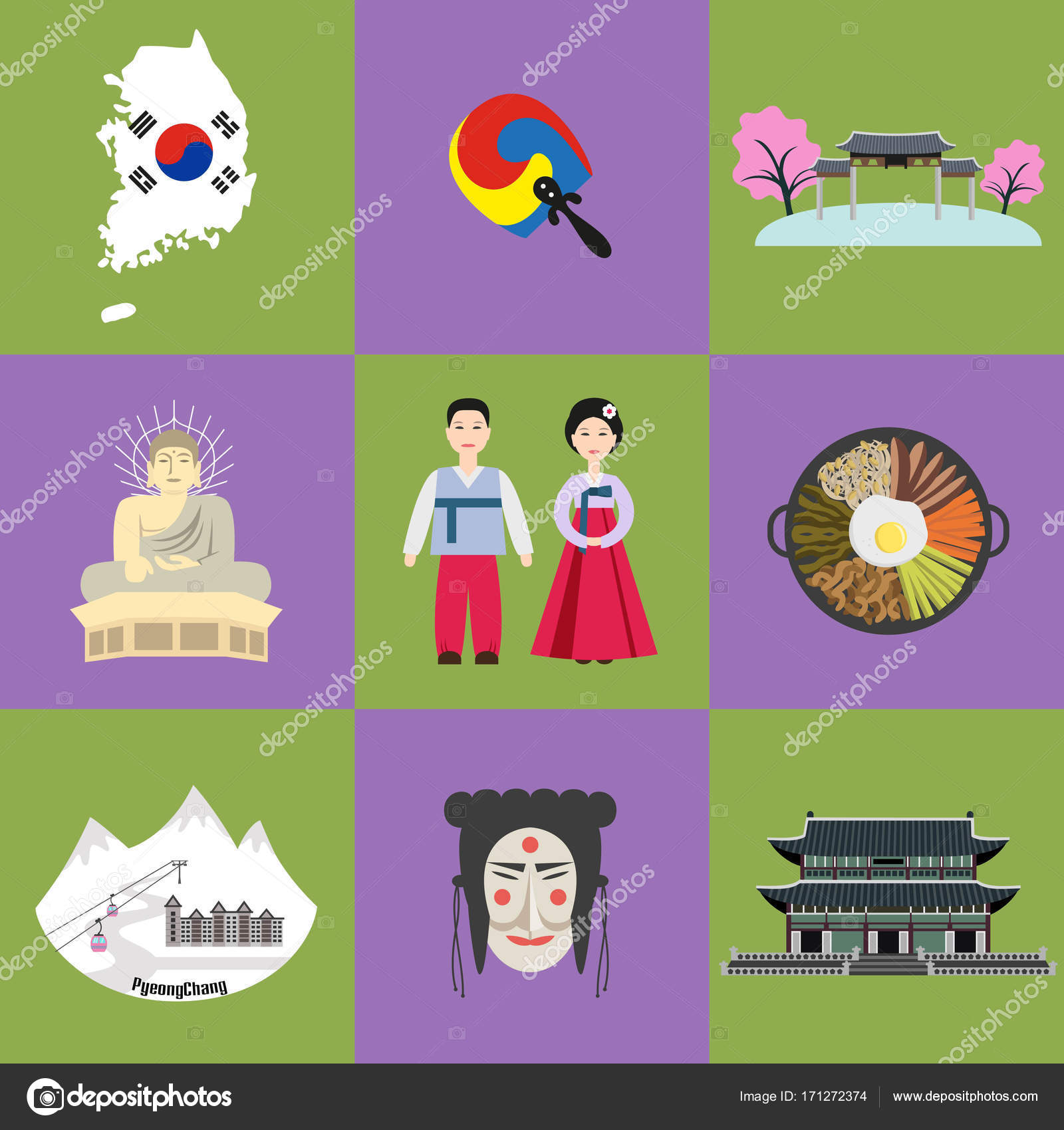 Set Of Korean National Symbols Stock Vector Oldmillionkaail