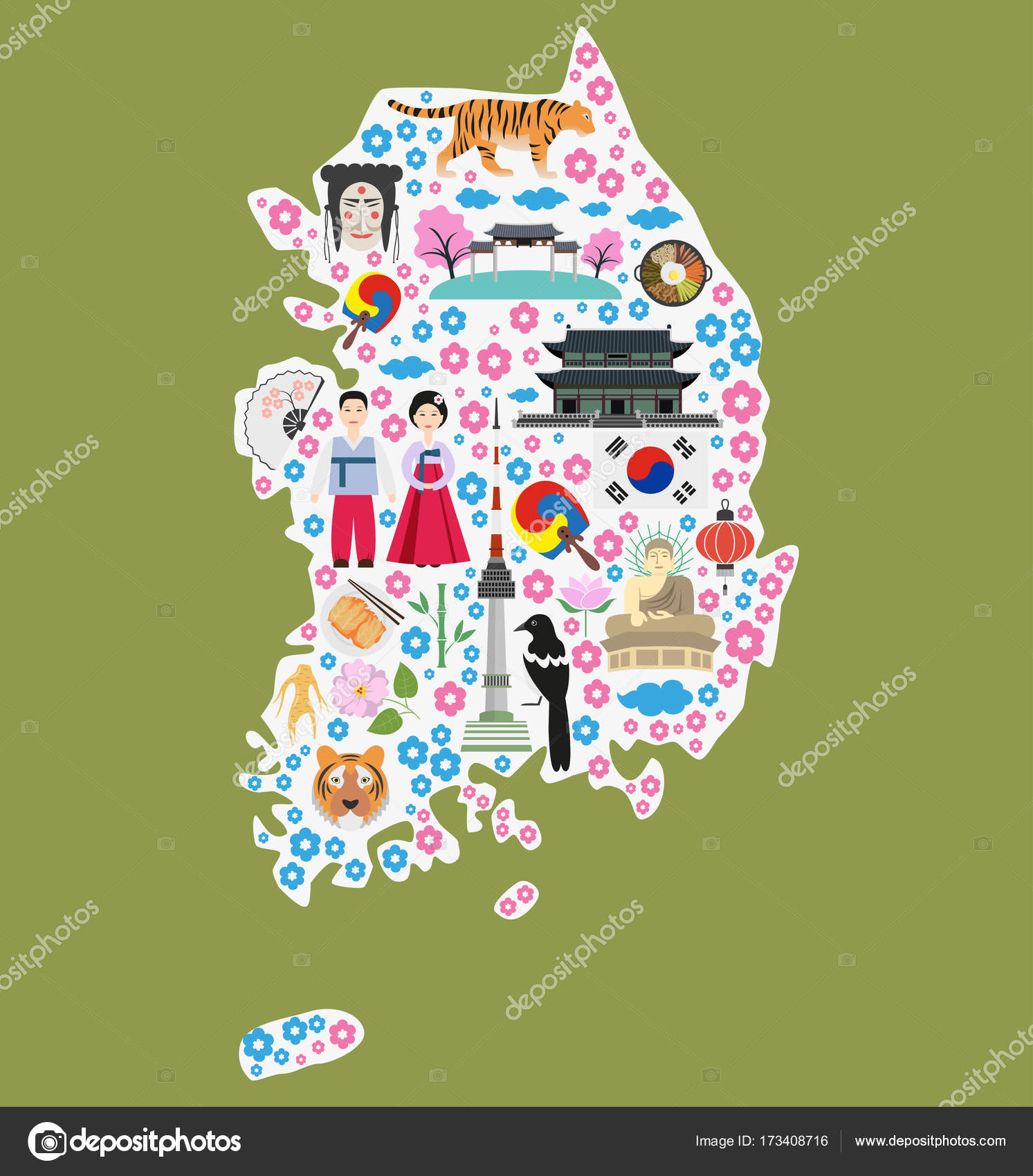 Welcome to south korea stock vector oldmillionkaail welcome to south korea colorful poster with symbols of south korea silhouette of map of south korea with flat icons vector illustration biocorpaavc Gallery