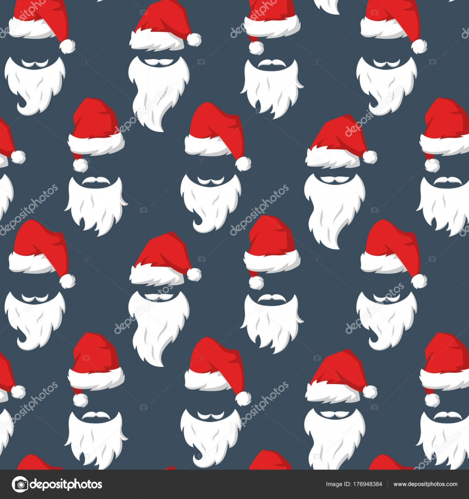 b6d8dd3a40a Seamless pattern with Red hats and beard of Santa Claus. — Stock Vector