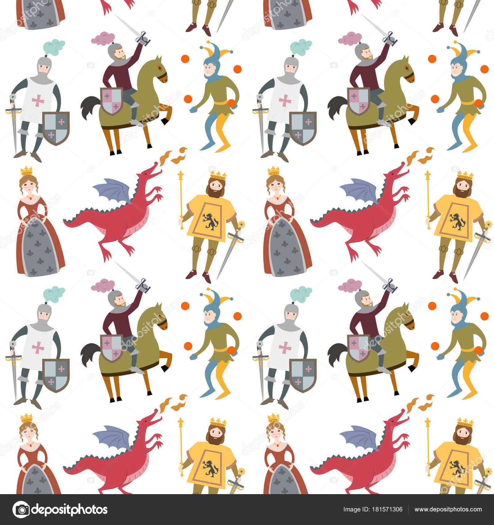 Imágenes Bufones De La Edad Media Patrón De Dibujos Animados Con