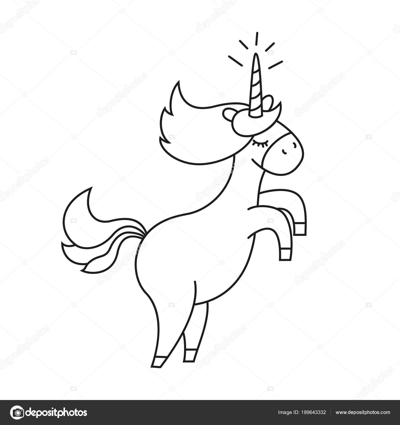 Silueta De Unicornio Para Pintar Ilustración Con Lindo